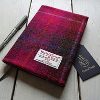 A5 Harris Tweed covered 2020 diary in cerise red tartan. Week to view