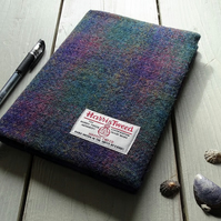 A5 Harris Tweed covered 2020 diary in purple and green tartan. Week to view