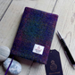 A6 Harris Tweed covered 2020 diary in deep purple and dark green. Week to view