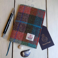 A6 Harris Tweed covered 2020 diary in orange, green, burgundy and turquoise