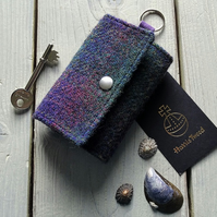 Harris Tweed keys wallet, small coin purse in deep purple and dark green