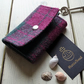Harris Tweed keys wallet, small coin purse in cranberry red and forest green