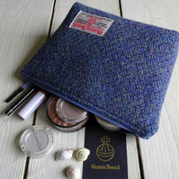 Harris Tweed make-up bag. Large size in blue, green and purple