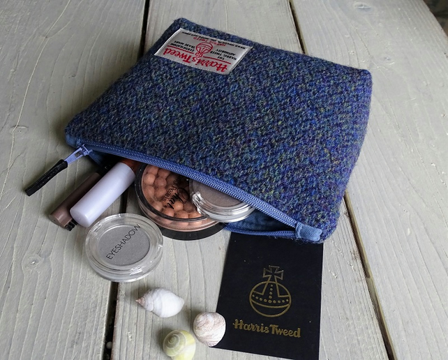 Harris Tweed make-up bag. Medium size in blue, green and purple