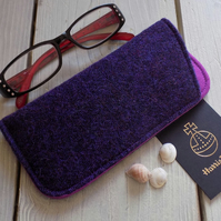 Harris Tweed eyeglasses case in deep purple