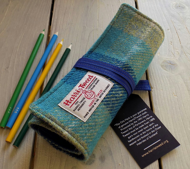 Harris Tweed pencils roll in turquoise tartan. With or without pencils