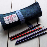 Harris Tweed pencils roll in dark mallard tea. With or without pencils