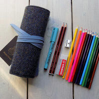 Harris Tweed pencils roll in pava shell blue. With or without pencils