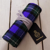 Harris Tweed pencils roll in purple and green tartan. With or without pencils