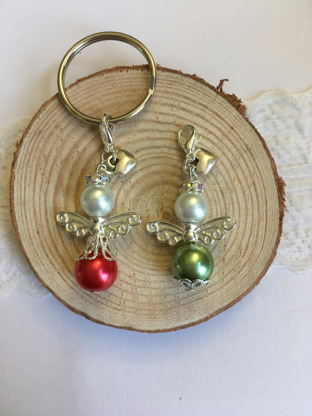 Christmas angel keyring or charm