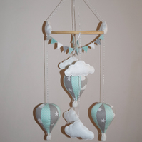 Handmade hot air balloon baby mobile