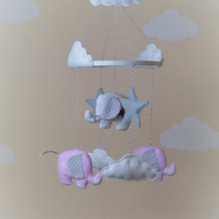 Handmade baby mobile with elephants stars various designs
