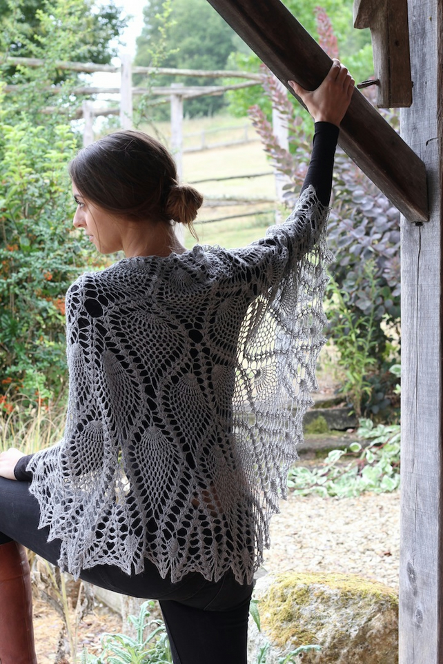 Silver grey, alpaca and silk crochet shawl