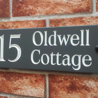Deeply Engraved Slate Home Address Sign or House Name Plate