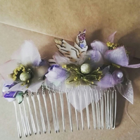 Handmade lilac puple bridesmaid flower girl hair comb