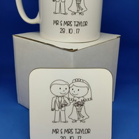 'Mr & Mrs' Wedding Mug and Coaster Set