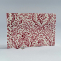 "Medium Sketchbook, ""Textured Paisley"", Red & Cream"