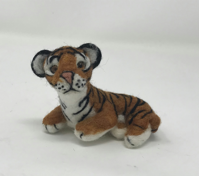 Needle felted tiger cub