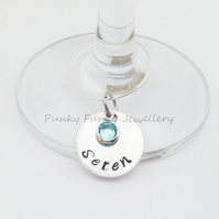 Personalised Wine Glass Charm - Party Decor - Wedding Table Decoration