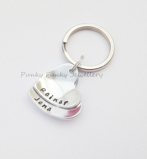 Personalised Mum Gift - Stacked Heart Keyring - Name Keyring - Gift For Her
