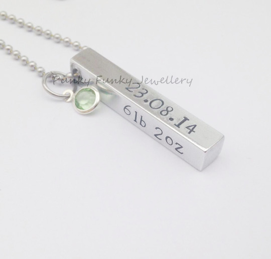 New Mum Necklace - Baby Name Necklace - Personalised New Mom Gift - Birth Date