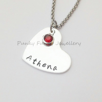 Personalised Heart Necklace - Birthstone Pendant - Heart Name Necklace - Custom