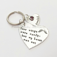 Personalised Memorial Keyring - Your Wings Were Ready But My Heart Was Not