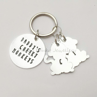 Daddy Keyring - Daddy's Cheeky Monkeys - Personalised Dad Gifts - Unique Daddy