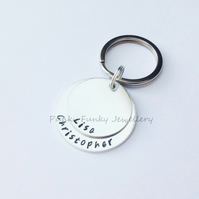 Personalised Two Name Keyring - Custom Couples Names Keychain - Two Layer