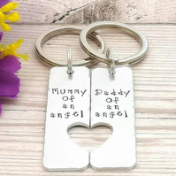 Mummy And Daddy Of An Angel Keyring Pair - Baby Loss Keepsake - Miscarriage Gift