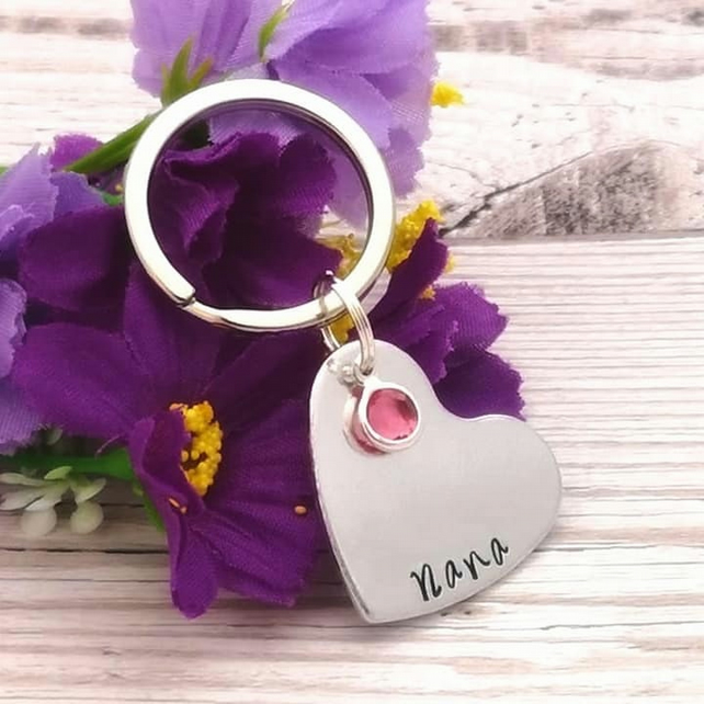 Personalised Heart Keyring With Birthstone Crystal - Name Keychain