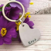 Personalised Heart Keyring - Custom Heart Gift - Name Keychain - Best Friend