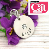 Custom Pet ID Tag - Personalised Cat Tag - Dog Name Tag - Double Sided Pet Tag
