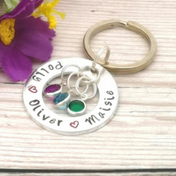 Personalised Washer Keyring - Name Keychain - Birthstone Gift - Children's names
