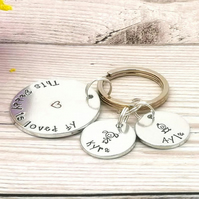 This Daddy Belongs To - Daddy Keyring - Personalised Gift For Dad
