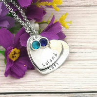 Stacked Heart Necklace - Personalised Birthstone Necklace - Mum Gift - Layered