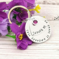 Personalised Grandma Gift - This Grandma Keyring With Birthstone Crystal