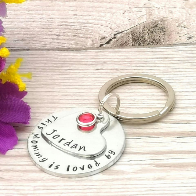 Personalised Mummy Gift - Mum Keyring With Birthstone Crystal - Mummy Belongs To