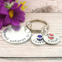 This Gran Belongs To Keychain With Birthstone Crystals - Nanny Is Loved By