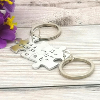 Personalised Couple Gift - Date & Name - Matching Keyrings - Interlocking Jigsaw