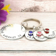 This Dad Belongs To Keyring With Birthstone Crystals - Personalised Dad Birthday