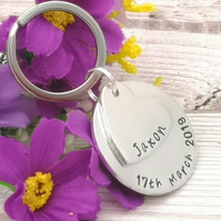 Personalised Name And Date Keyring - Birth Date - Custom Name Keychain