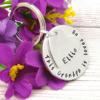 Personalised Grandad Keyring - Grandpa Gift - This Grandad Belongs To Keychain