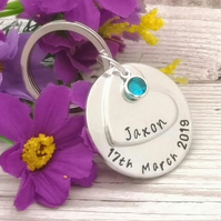 Personalised Birthday Gift - Birthdate Keyring - Memorial Gift - New Baby Gift