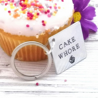 Funny Cake Keyring - Cake Whore Keychain - Gift For Cake Lover - Rude Foodie