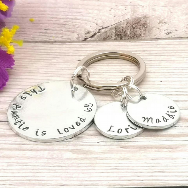 Personalised Aunt Keyring - Custom Auntie Gift - This Aunty Belongs To
