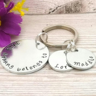 Personalised Grandma Keyring - Custom Nanny Gift - This Gran Belongs To