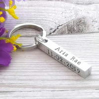 New Baby Gift - Baby Birth Details Keyring - Personalised Gift For New Mum