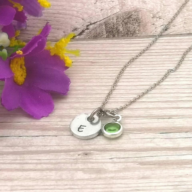 Initial Necklace With Birthstone Crystal - Personalised Tiny Charm Necklace