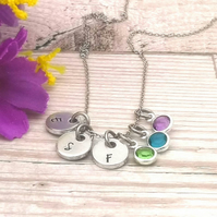 Personalised Initial Charm Necklace With Birthstone Crystals - Mummy Gift